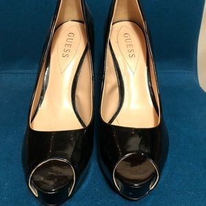 Guess women's black peep toe heels